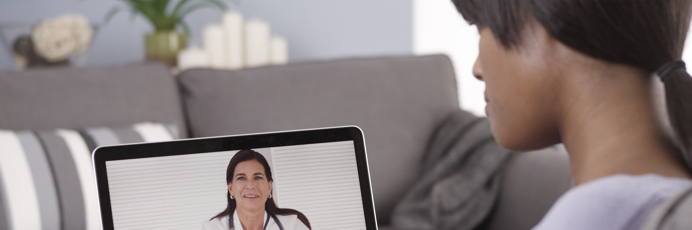 woman consulting with virtual doctor