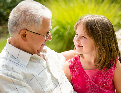 Older man with grandaughter