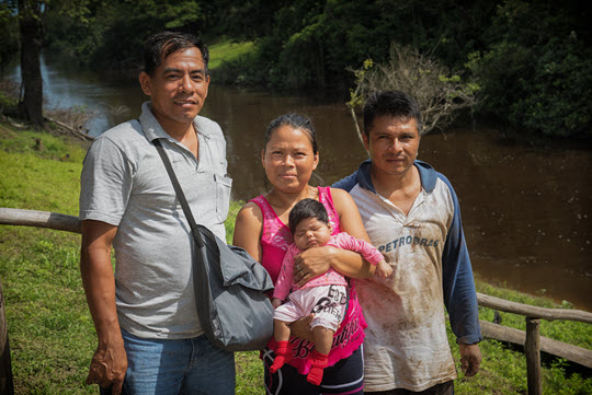 Family with baby in Peru