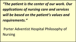 Porter Adventist Hospital Philosophy of nursing quote