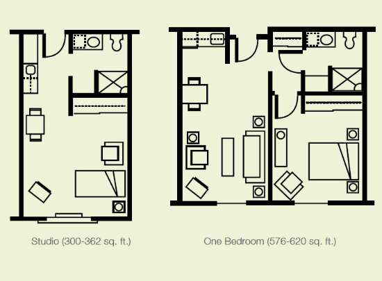 Studio & One Bedroom Floor Plan